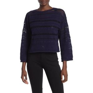 CENY Pointelle Knit Cropped Sweater Navy Blue